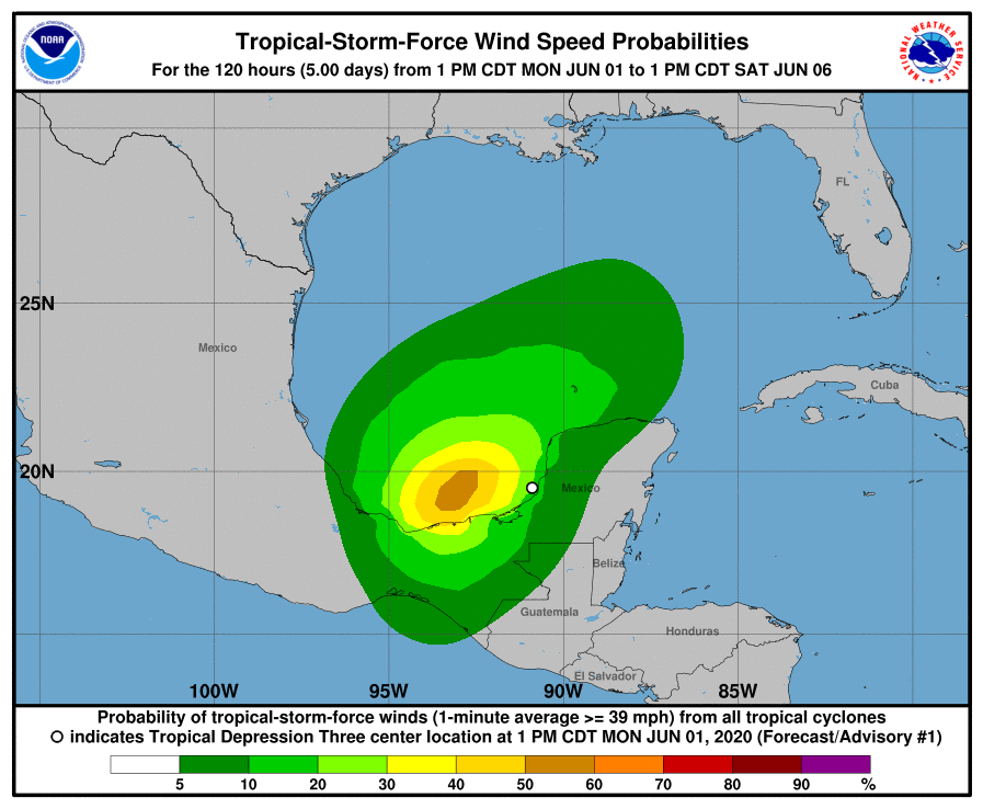 Tropical Storm-Force Wind Speed Probabilities