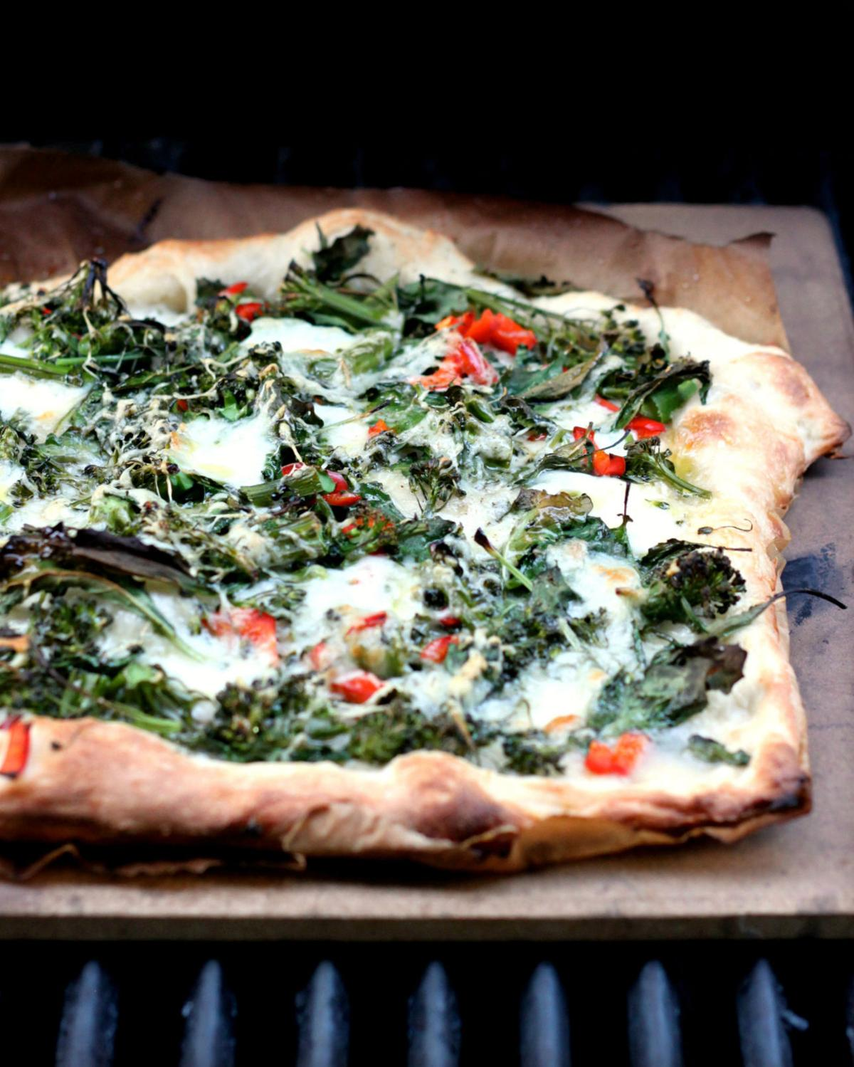 Grilled Pizza With Baby Kale, Broccolini and Chiles