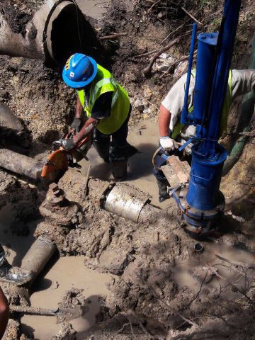 Construction crew working on water lines