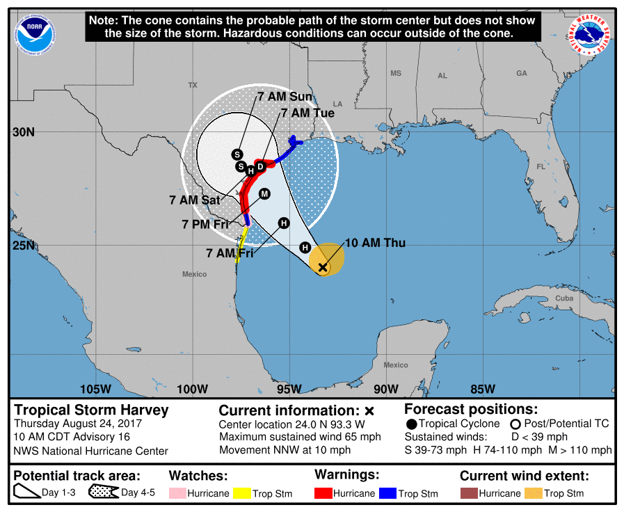 Coastal Watches: Warnings and Forecast Cone for Storm Center