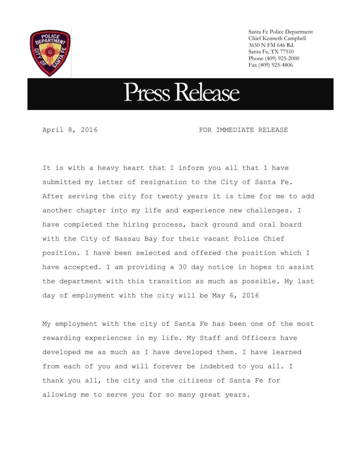 Police Chief Campbells Resignation Letter The Daily News