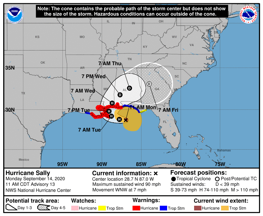 Hurricane Sally cone
