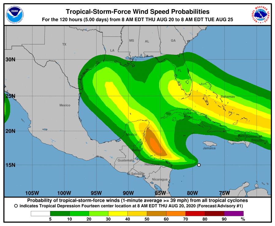 Tropical Storm Force Wind Probabilities