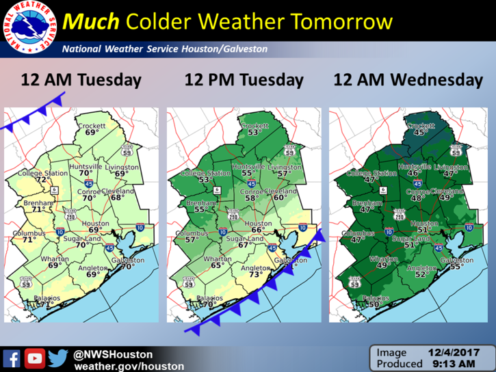 Much Colder Weather Tomorrow