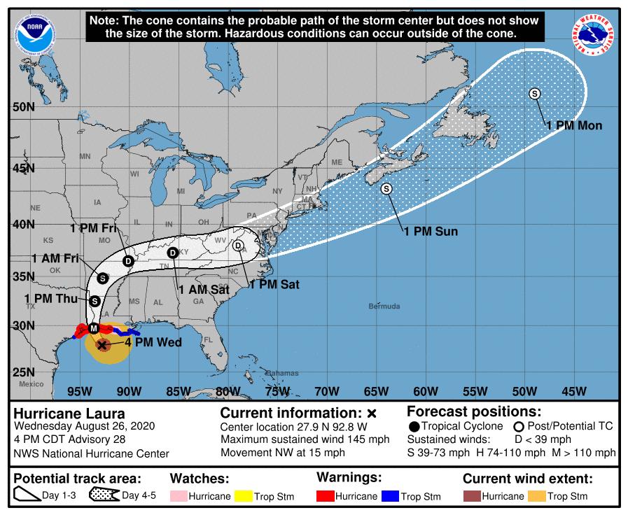 Hurricane Laura 4 PM Wed Cone