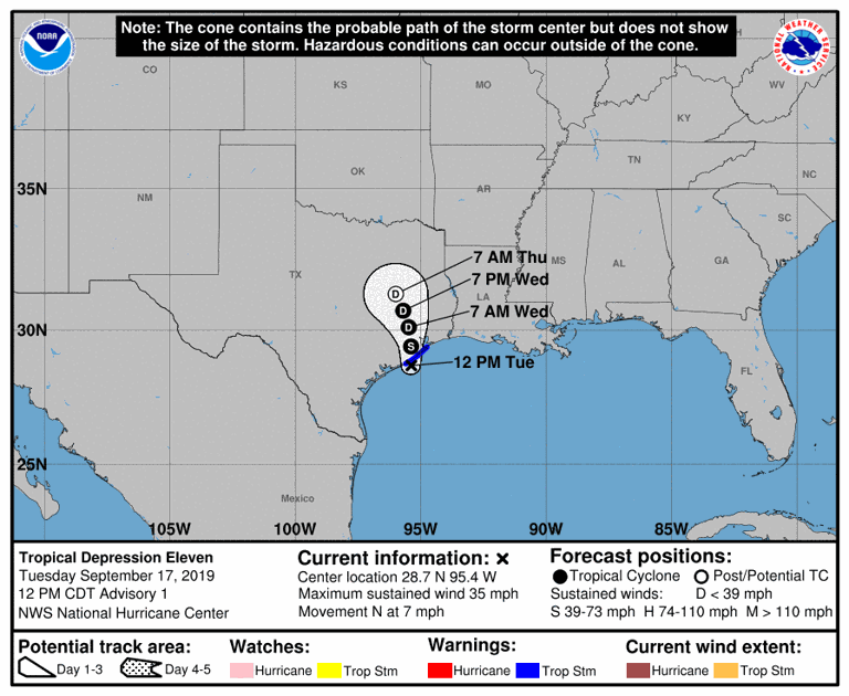 Tropical Storm Imelda forms off the Texas coast