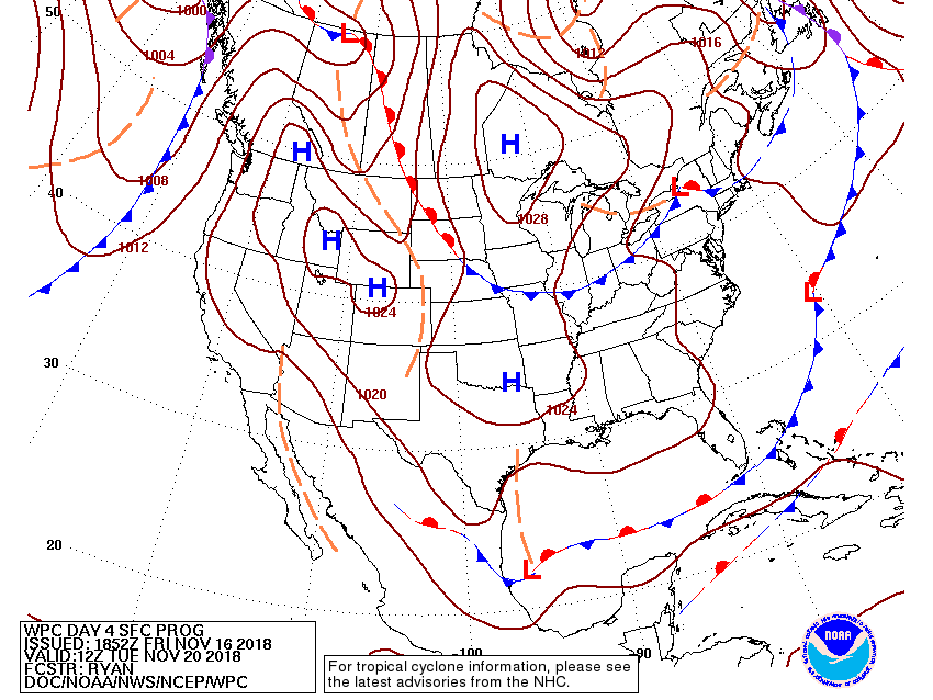 Day 4 surface forecast map