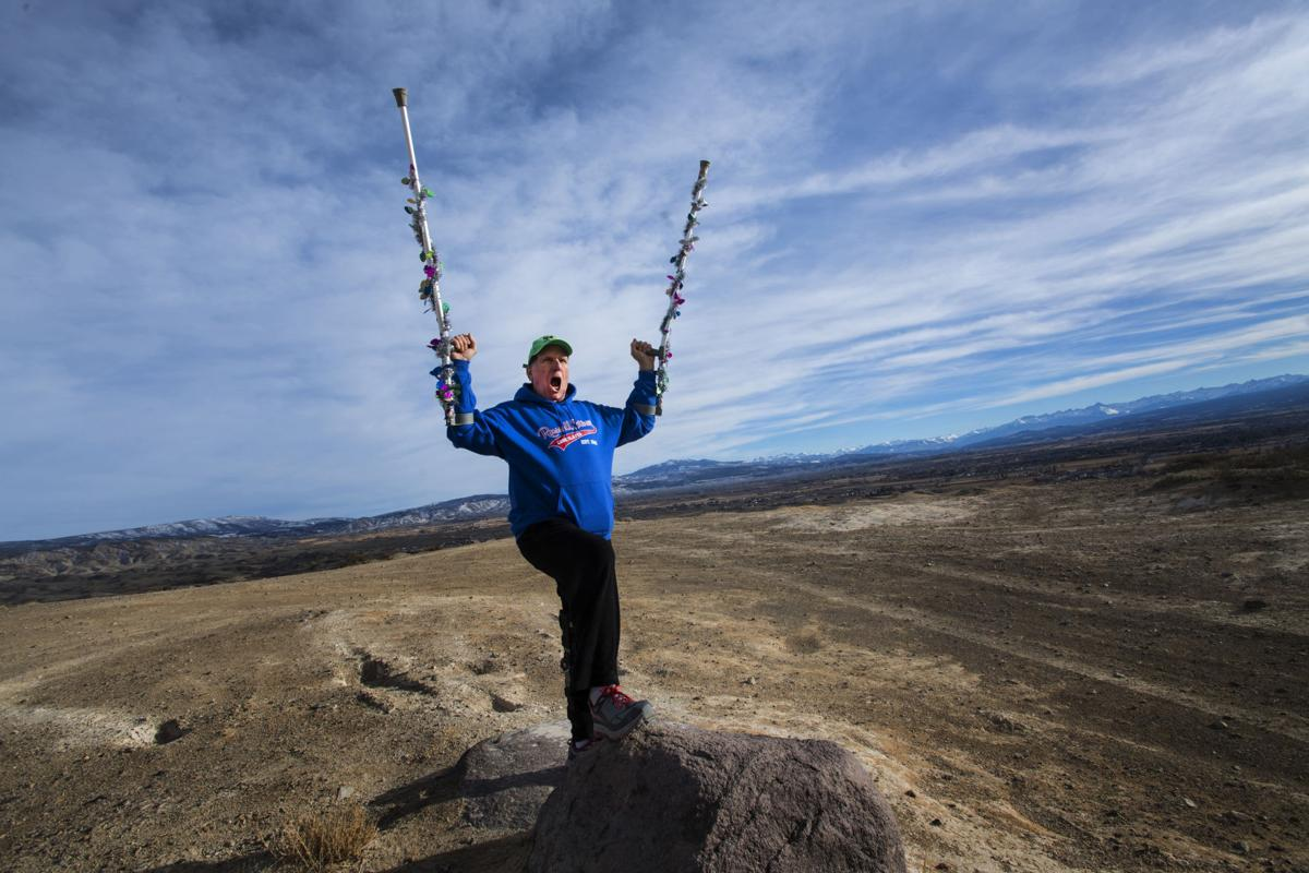 "World-class mountaineer and author Gerry Roach cheers after reaching the highest point of the Flat Top north of Montrose, Colo., Saturday, Jan. 13, 2018, while recovering from surgery to repair his left quadricep tendon. Roach, 74, has summited the major mountains of the world include Mt. Everest and has written many books including the book that sits on a shelve of most climbers in Colorado - ""Colorado's Fourteeners: From hikes to Climbs."" (The Gazette, Christian Murdock)"
