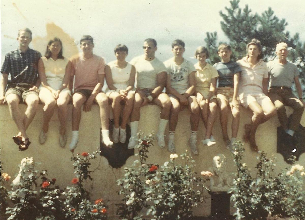 Barron Family 1967, Hwy. 83 Patio - (L-R) Hal & CONNI (wedding), TOM, Jan & JIM, PETE, WINNIE, BILL_ GLORIA & ARCH.jpg