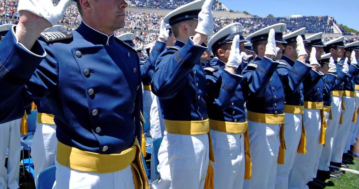 Newly commissioned 2nd Lt Bradley Dewees recites the Oath of Office during commencement exercies in Falcon Stadium May 27. 2nd Lt Dewees was the top graduate in the Class of 2009. US Air Force Photo/Dennis Rogers