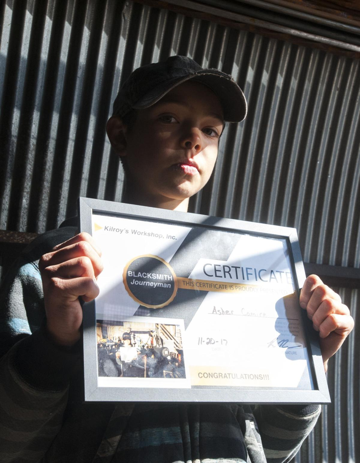 A boy and his anvil: Peyton boy is nation's youngest certified blacksmith