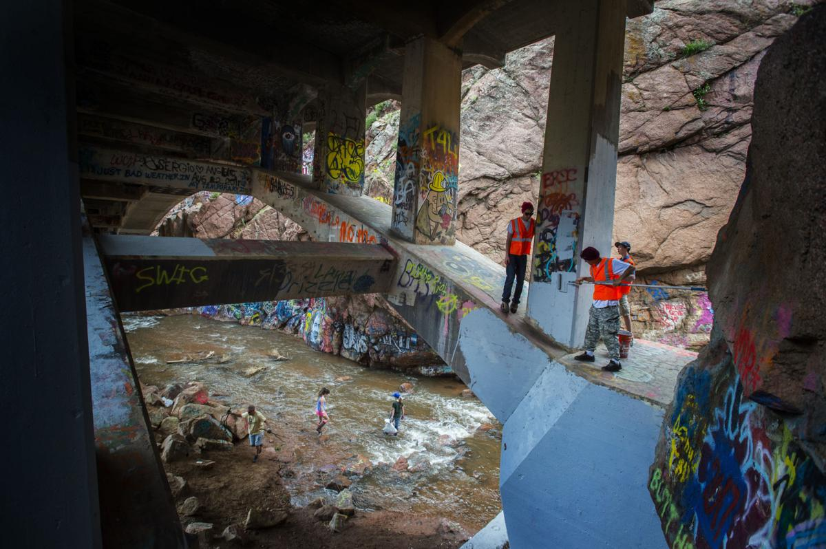 Historic Rainbow Falls in Manitou Springs still covered in graffiti