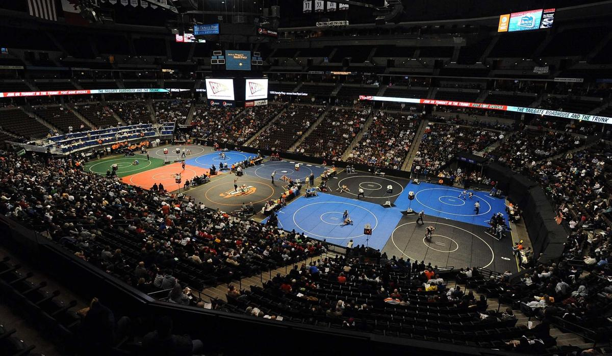 The first round of the 4A and 5A Colorado State Wrestling tournament begins Thursday, Feb. 16, 2012, at the Pepsi Center in Denver. (The Gazette, Christian Murdock)