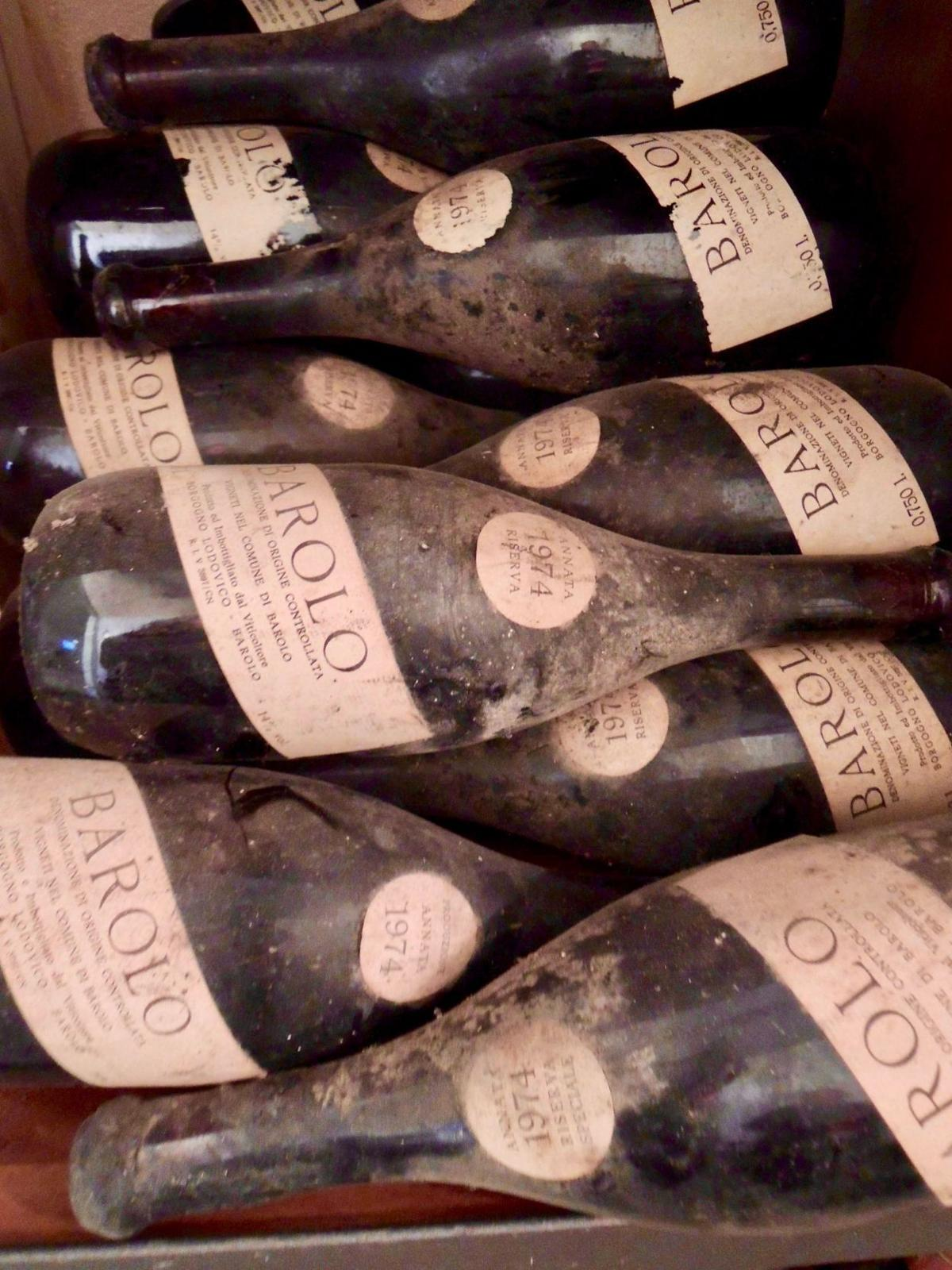Decades old bottles of Barolo