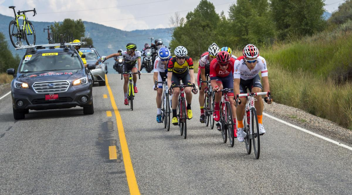Riders race down a hill along Highway 33 toward Oak Creek Monday, Aug. 17, 2015, during Stage 1 of the 2015 USA Pro Challenge in Steamboat Springs, Colo. Stage 1 is a two-lap, 97 miles circuit beginning and ending in Steamboat Springs. (The Gazette, Christian Murdock)