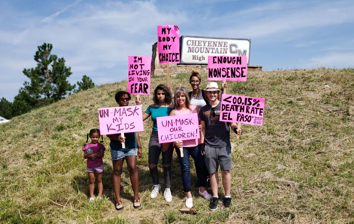 Protesters at Cheyenne Mountain High School, Sept. 10