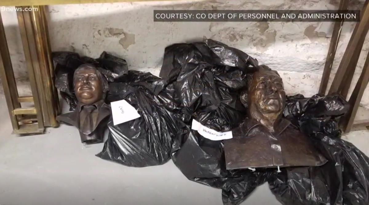 These busts at the Colorado Capitol were among the items damaged in January's vandalism.