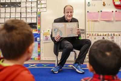 Colorado Governor Jared Polis reads to Avon Elementary School kindergarteners
