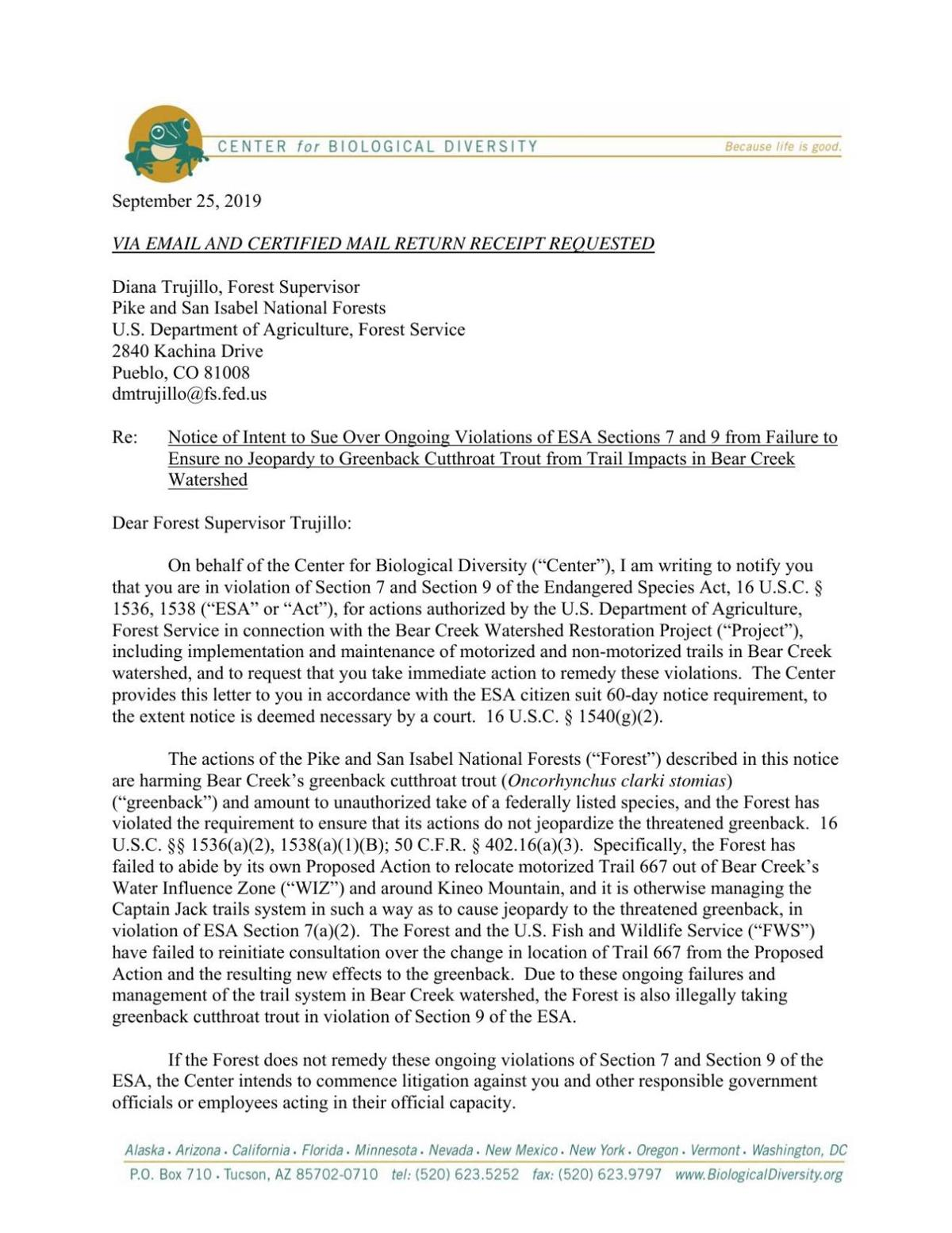 Notice of intent to sue concerning greenback cutthroat trout
