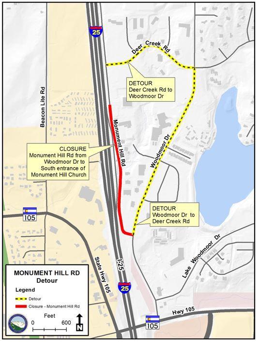 Monument Hill Road Phase I detour map