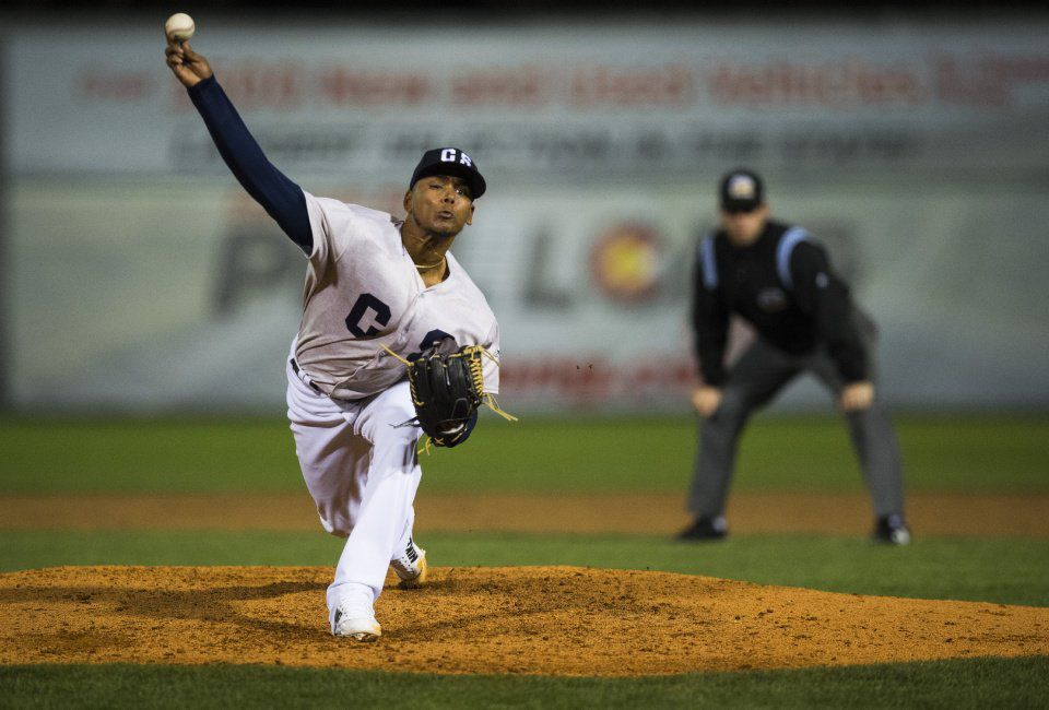 Sky Sox starter Freddy Peralta pitches during the fifth inning of the Sky Sox home opener against New Orleans Tuesday, April 10, 2018, at Security Service Field in Colorado Springs. (The Gazette, Christian Murdock)