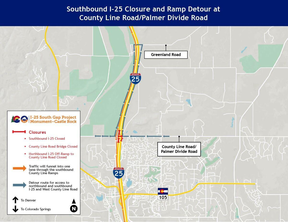 Southbound I-25 closure and ramp detour at County Line Road/Palmer Divide Road