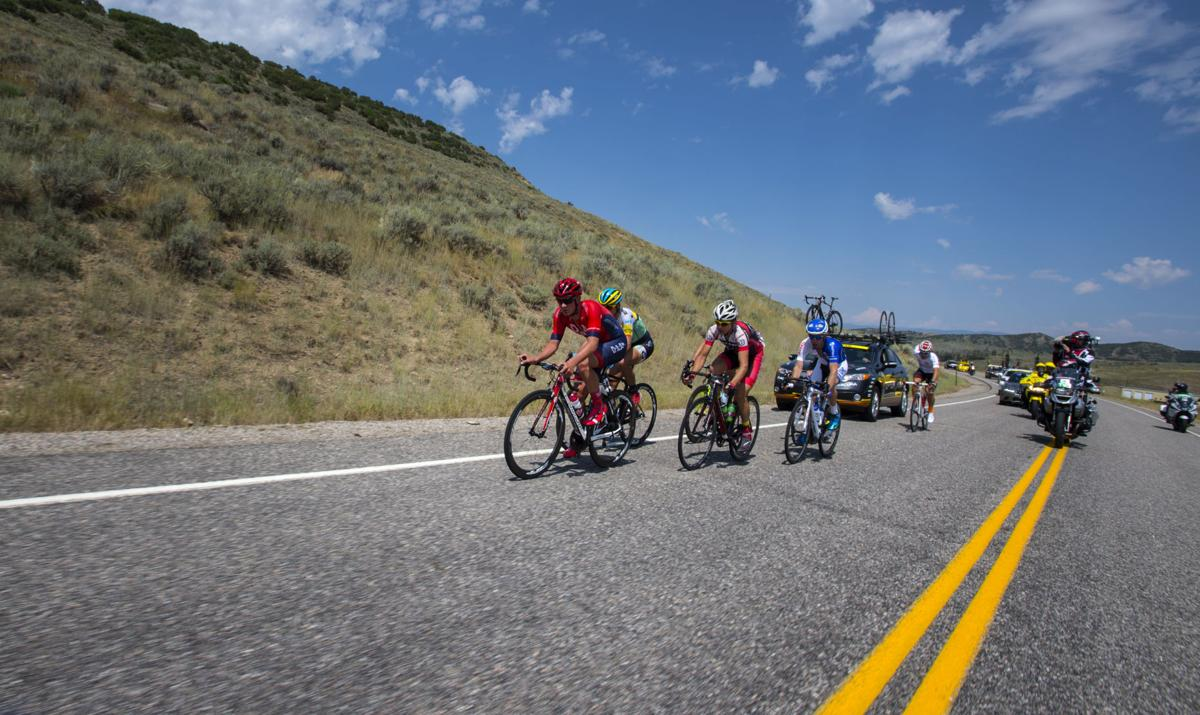 Jordan Kerby of Drapac Pro Cycling leads a group of riders Monday, Aug. 17, 2015, during Stage 1 of the 2015 USA Pro Challenge in Steamboat Springs, Colo. Stage 1 is a two-lap, 97 miles circuit beginning and ending in Steamboat Springs. (The Gazette, Christian Murdock)