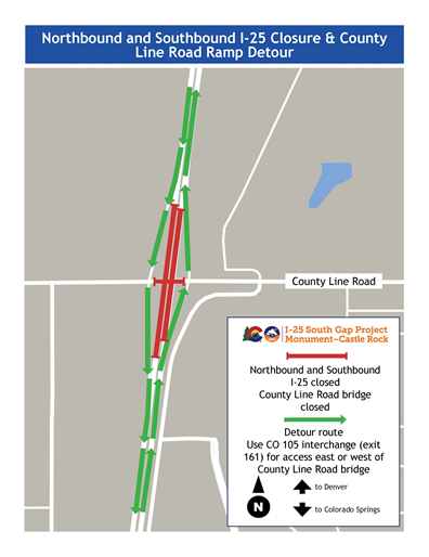 I-25 north- and southbound at County Line Road bridge detour