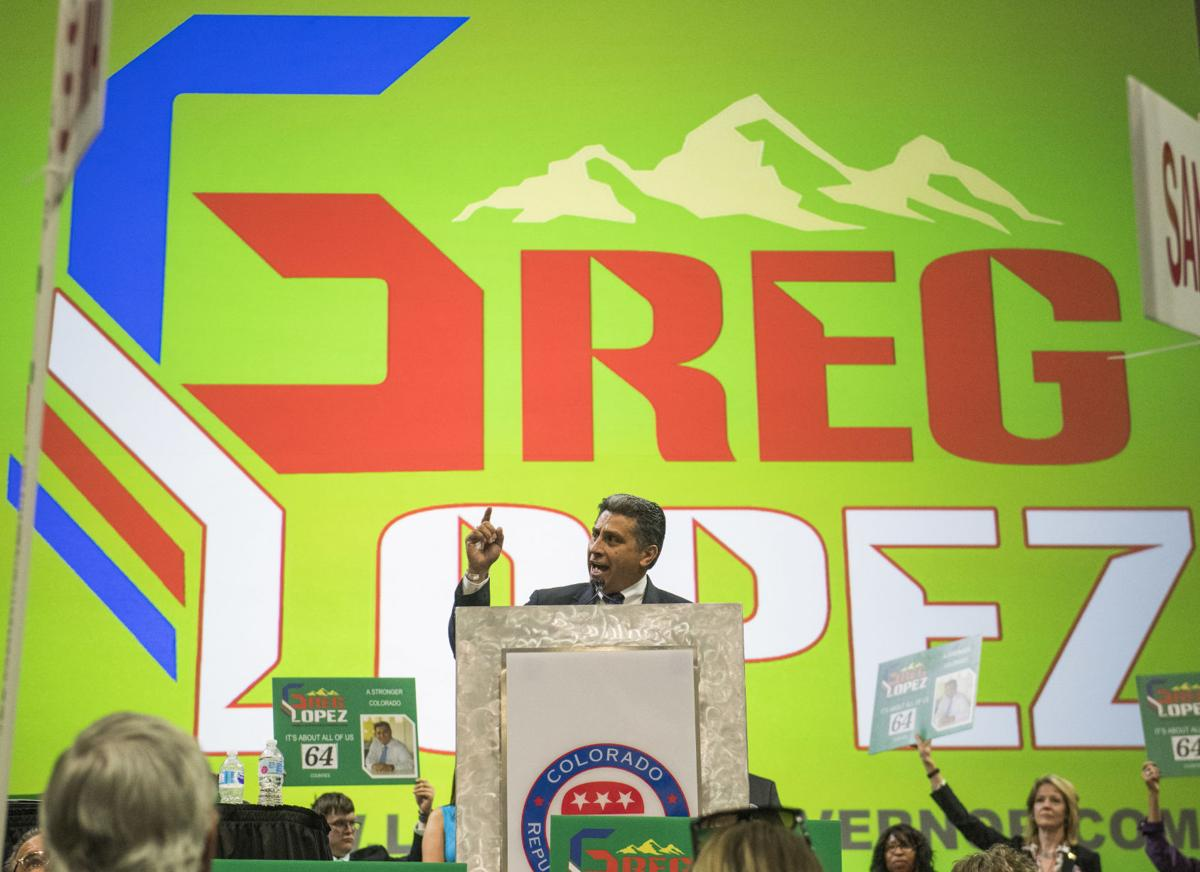 Former Parker mayor Greg Lopez addresses the 2018 Colorado Republican State Assembly while accepting his nomination for governor at the Coors Events Center on the campus of the University of Colorado Boulder in Boulder on April 14, 2018. Photo by Andy Colwell for the Gazette