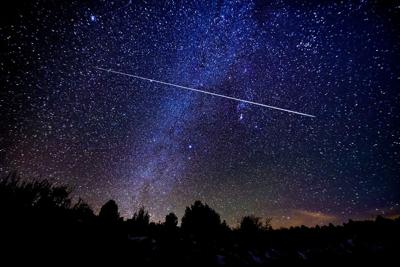 Astrophotography Meteor Shower with Milky Way Galaxy and Stars