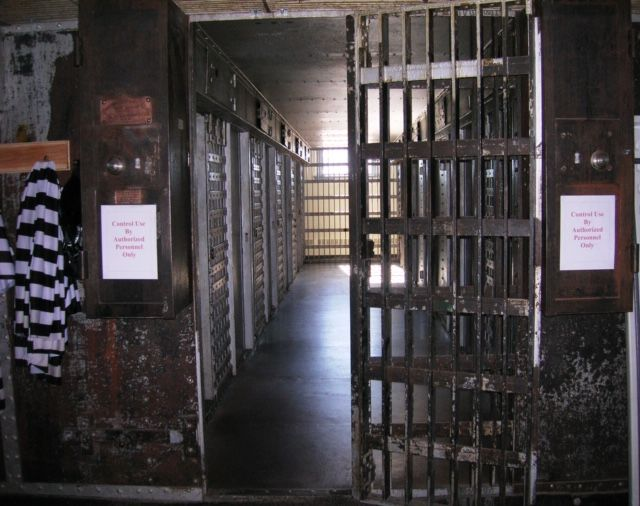 A cell block in Cripple Creek's jail museum