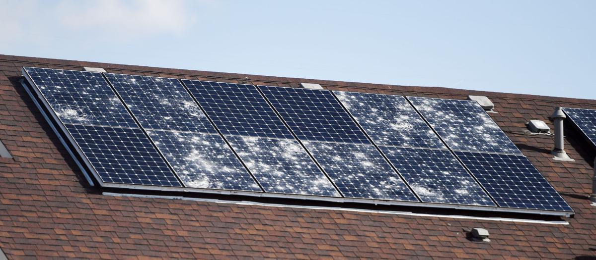 (CHEYENNE) Hail damaged solar panels