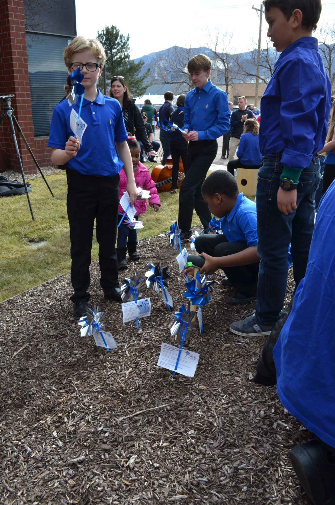 Pinwheels planting for Child Abuse Prevention Month