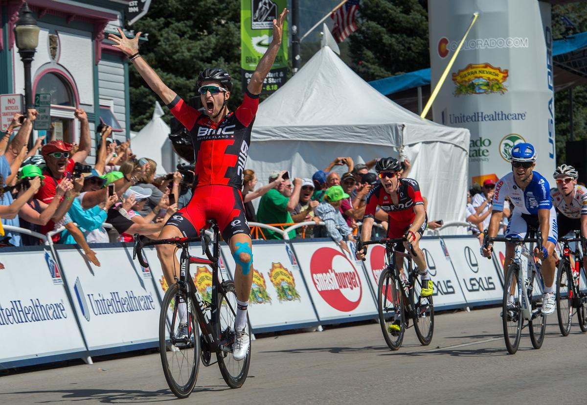 BMC Racing's Taylor Phinney of Boulder, Colo., wins a sprint to the finish Monday, Aug. 17, 2015, to win Stage 1 of the 2015 USA Pro Challenge in Steamboat Springs, Colo. Stage 1 is a two-lap, 97 miles circuit beginning and ending in Steamboat Springs. (The Gazette, Christian Murdock)