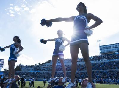 Air Force cheerleaders perform before the cadet section while waiting for a time out to end at Falcon Stadium on Saturday, Nov. 4, 2017. Air Force was shut out at home for the first time since November 1, 1980 according to the school.