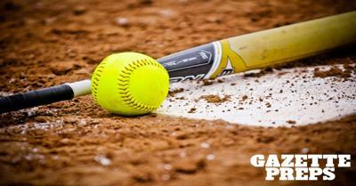high school softball stock photo