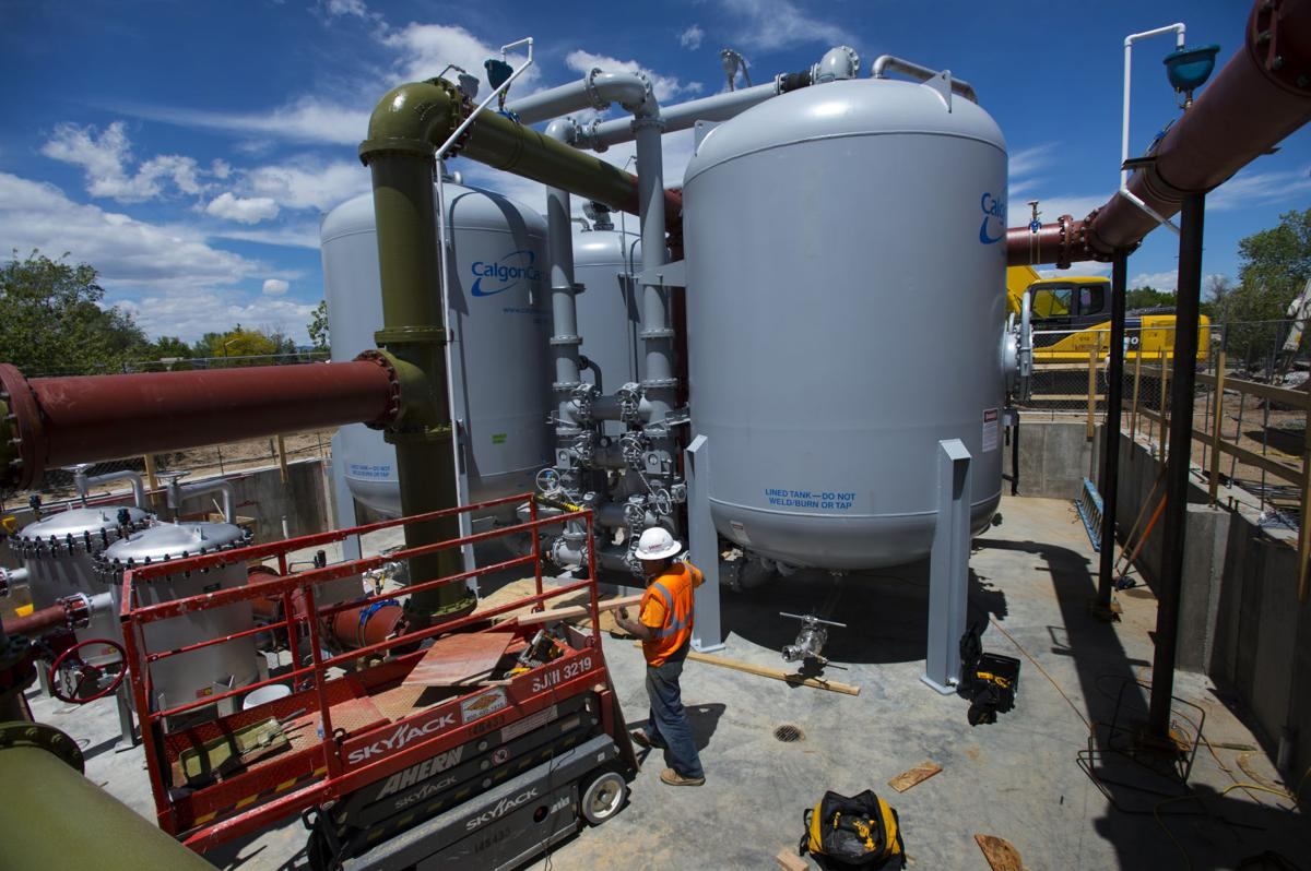 A crew from Velocity Constructors, Inc., in Denver work on a new ion-exchange filter system Wednesday, May 17, 2017, at the Southmoor Water Treatment Plant for the Widefield Water and Sanitation District. (The Gazette, Christian Murdock)