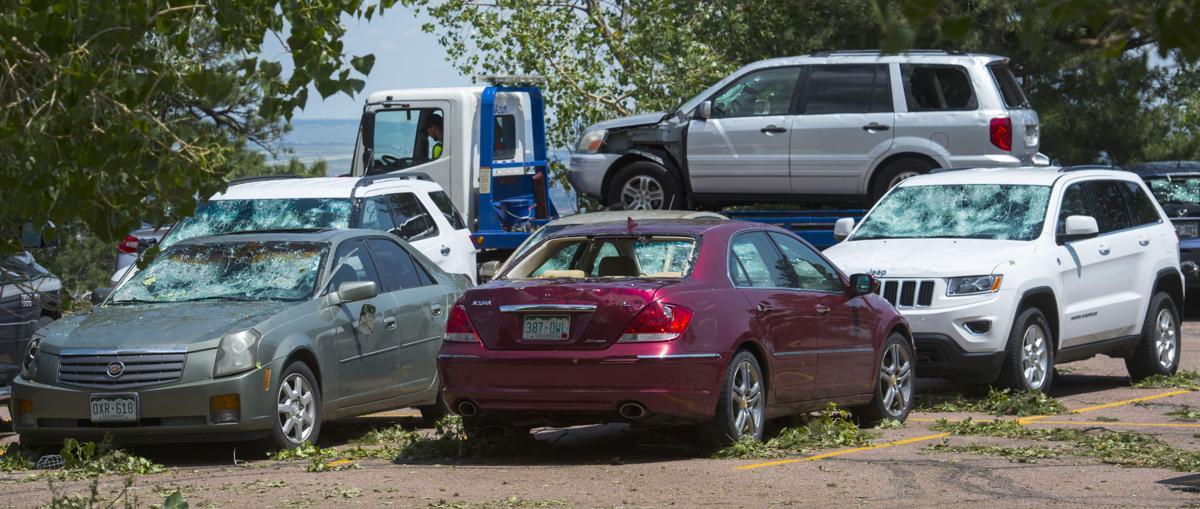 (CHEYENNE) Hail damaged vehicles