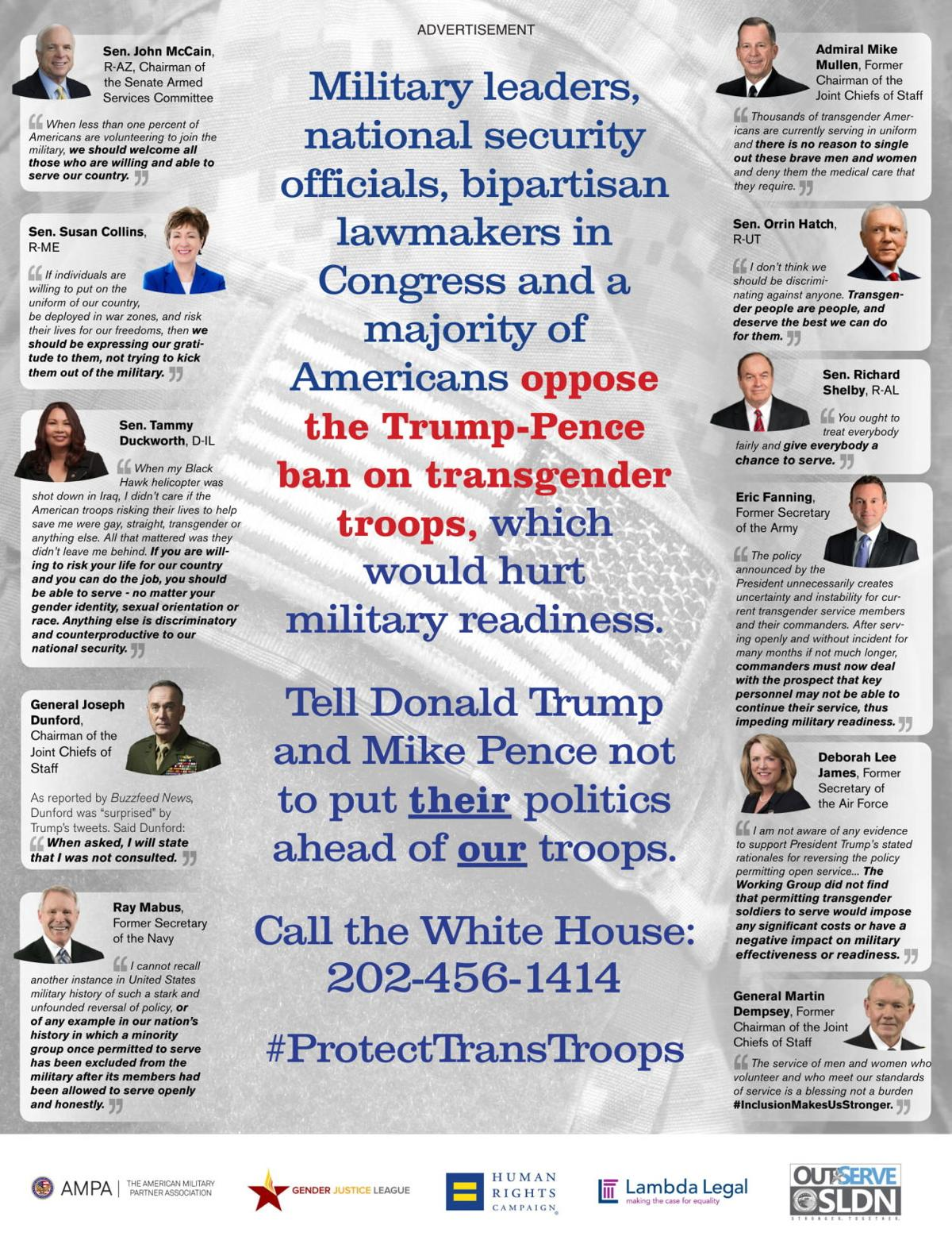 Full-page ad features bipartisan opposition to Trump's transgender ban