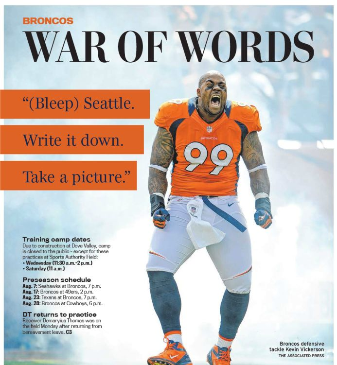 Klee: Fed up with Seahawks smack, Broncos fire back