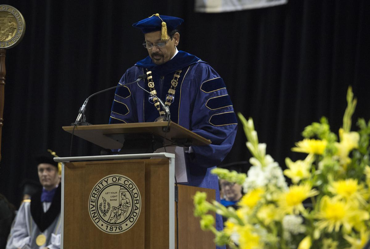 Chancellor Venkateshwar Reddy speaks during the  University of Colorado at Colorado Springs' morning commencement ceremonies Friday, May 12, 2017, at the Broadmoor World Arena in Colorado Springs. A record 1,532 students received their degrees this Spring.  (The Gazette, Christian Murdock)