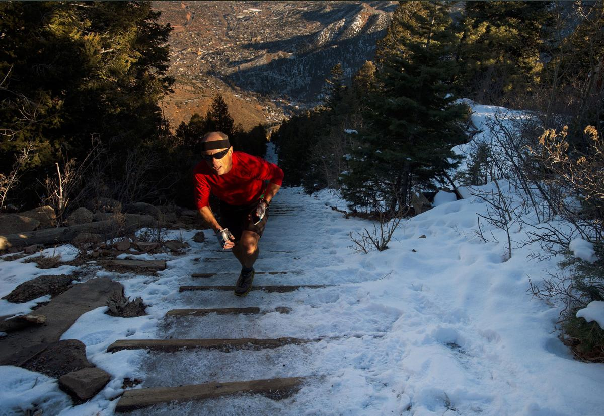 Greg Cummings nears the summit of the Manitou Incline Jan. 15, 2015