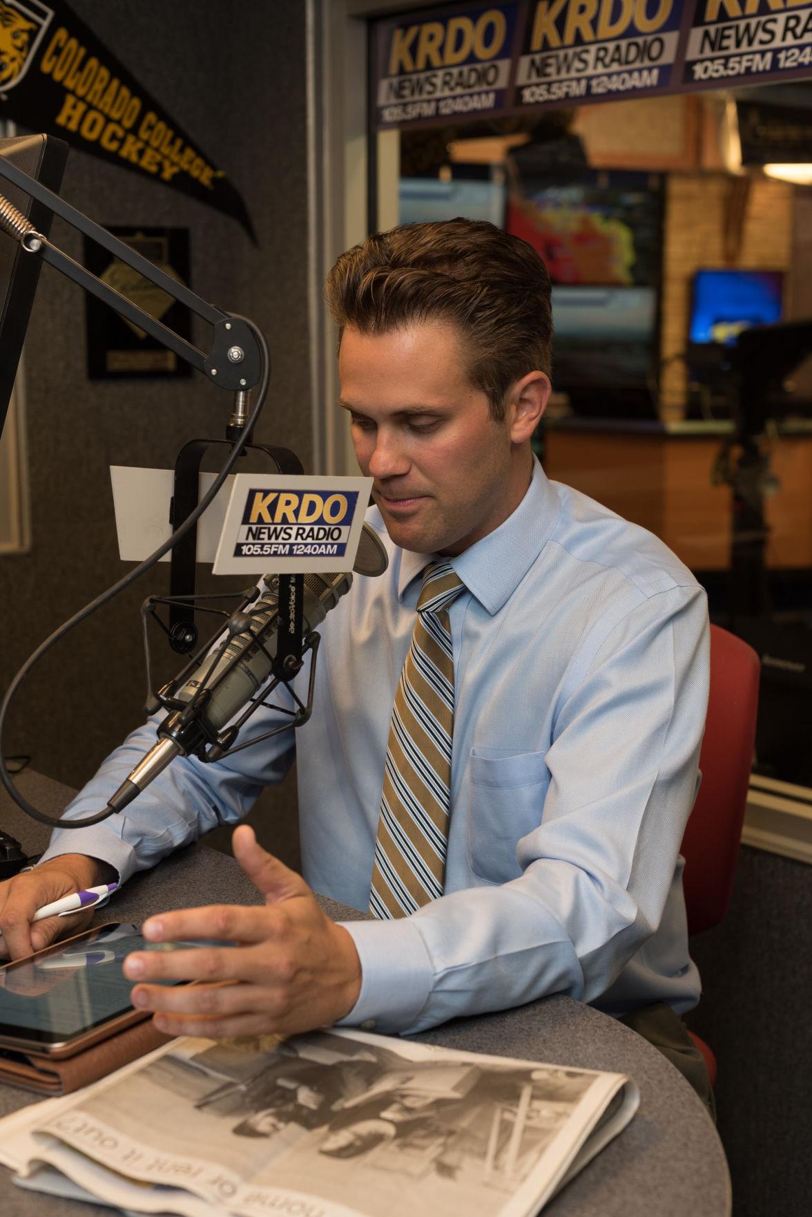 Justin Hermes in the KRDO News Radio studio