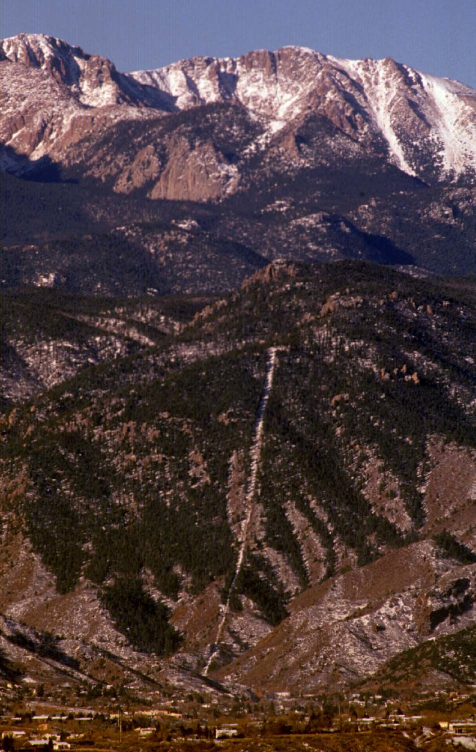 Scar left from the old Manitou Incline is still visible. photo by stuart, 11/28/96