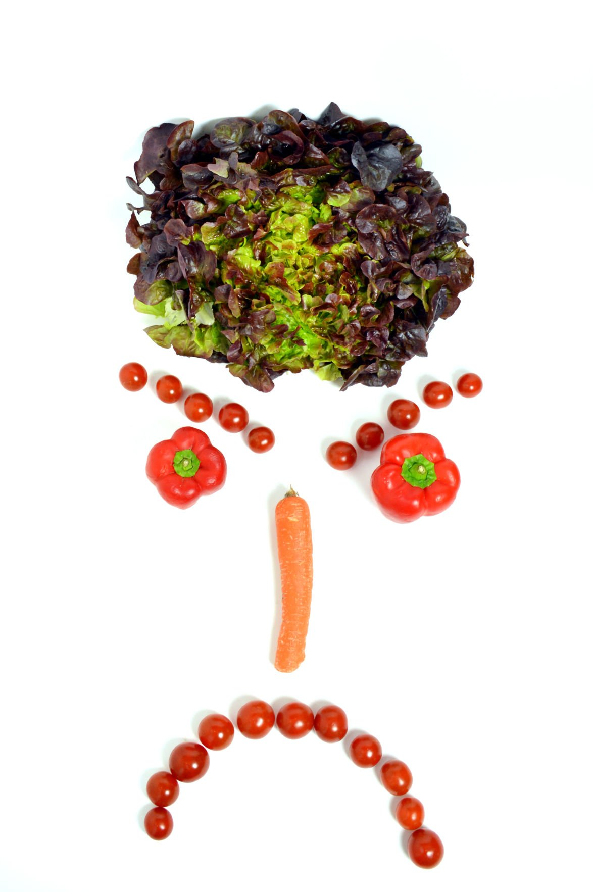 Angry smiley face, with vegetables