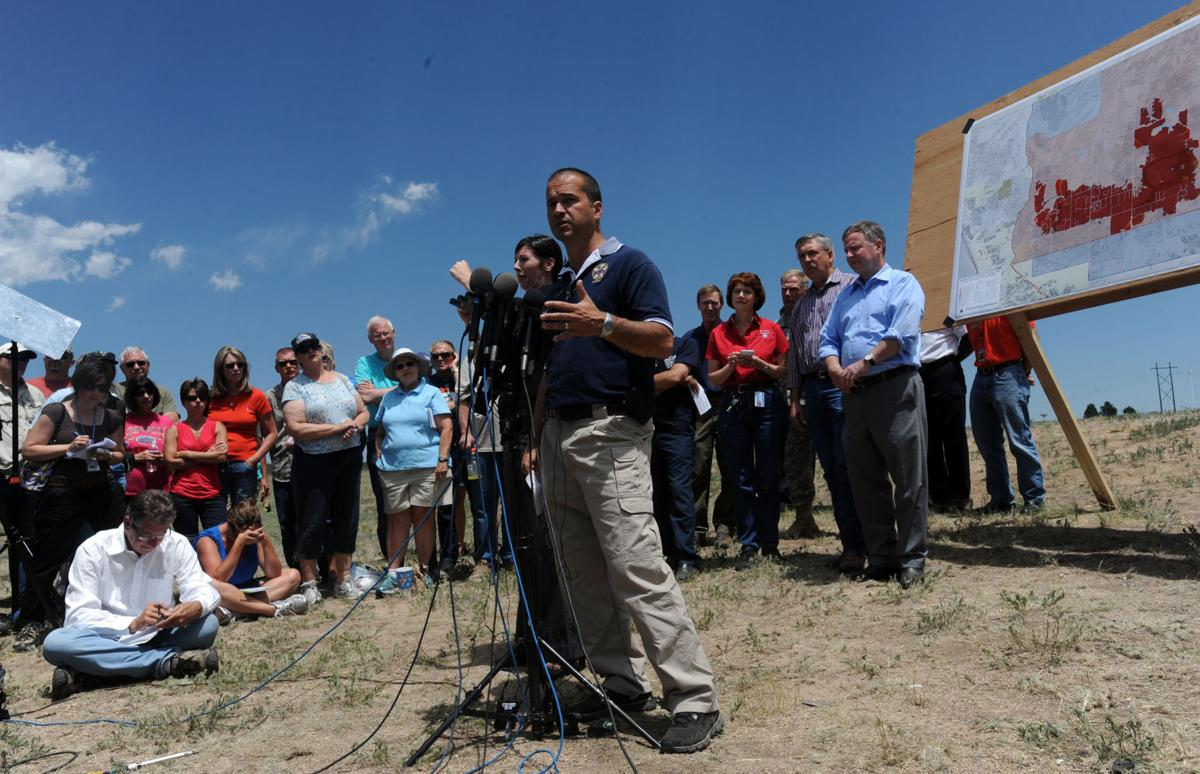 El Paso County Sheriff Terry Maketa speaks during a press briefing Saturday, June 15, 2013, at the Pikes Peak Community College Rampart Range Campus in Colorado Springs, Colo. (The Gazette, Christian Murdock)