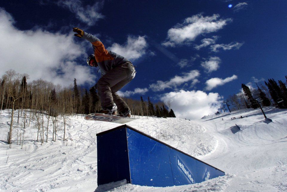 Aaron Tobler, 15, of Montrose jumps a box in the Sprite Air Garden Terrain Park at Telluride Ski Resort Monday, Jan. 17,2005. Tobler and a group of friends from Montrose spent the sunny Martin Luther King holiday at the Telluride resort. Photo by Christian Murdock/The Gazette