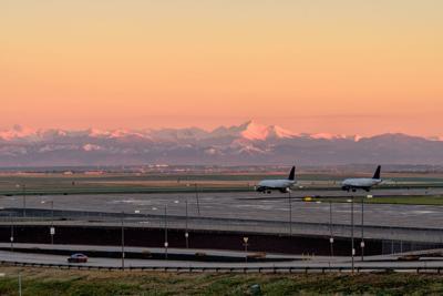 Denver International Airport at sunrise, Denver Colorado, USA,