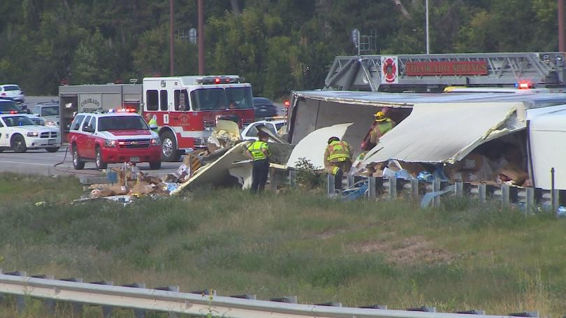 All lanes reopened after semi-truck rollover on I-25 near