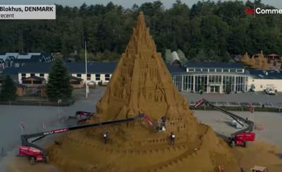 World's tallest sandcastle sculpted at 69 feet
